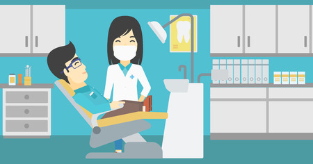 doctor and patient vector: An asian young man sitting it the chair at the dental office. Female doctor and patient in the dental clinic. Patient on reception at the dentist. Vector flat design illustration. Horizontal layout.