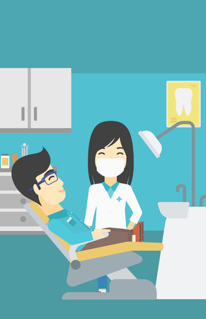 dental clinic: An asian young man sitting it the chair at the dental office. Female doctor and patient in the dental clinic. Patient on reception at the dentist. Vector flat design illustration. Vertical layout. Illustration