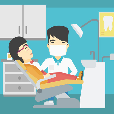 young woman sitting: An asian young woman sitting it the chair at the dental office. Male doctor and patient in the dental clinic. Patient on reception at the dentist. Vector flat design illustration. Square layout.