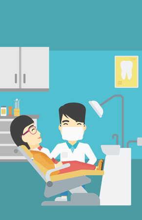 young woman sitting: An asian young woman sitting it the chair at the dental office. Male doctor and patient in the dental clinic. Patient on reception at the dentist. Vector flat design illustration. Vertical layout.