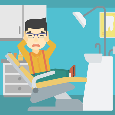 frightful: An asian young frightened patient at dentist office. Scared young man in dental clinic. Afraid man sitting in dental chair. Vector flat design illustration. Square layout. Illustration