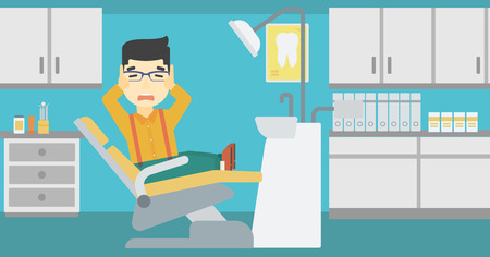 afraid man: An asian young frightened patient at dentist office. Scared young man in dental clinic. Afraid man sitting in dental chair. Vector flat design illustration. Horizontal layout.