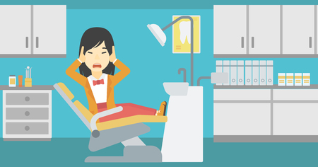 dental chair: An asian young frightened patient at dentist office. Scared young woman in dental clinic. Afraid woman sitting in dental chair. Vector flat design illustration. Horizontal layout. Illustration