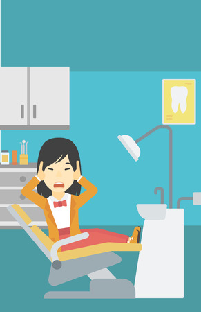 dental clinic: An asian young frightened patient at dentist office. Scared young woman in dental clinic. Afraid woman sitting in dental chair. Vector flat design illustration. Vertical layout.