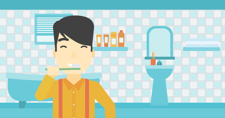 asian man smiling: An asian young man brushing his teeth with a toothbrush in bathroom. Smiling man holding toothbrush. Vector flat design illustration. Horizontal layout.