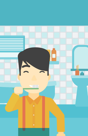 An asian young man brushing his teeth with a toothbrush in bathroom. Smiling man holding toothbrush. Vector flat design illustration. Vertical layout.