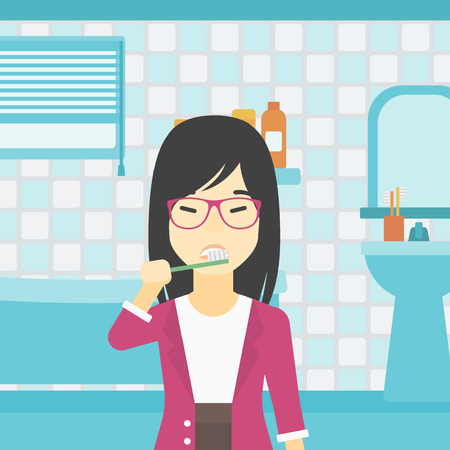 An asian young smiling woman brushing her teeth with a toothbrush in bathroom. Smiling woman holding toothbrush. Vector flat design illustration. Square layout. Illustration