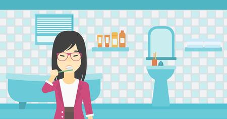 アジア若い笑顔女性浴室の歯ブラシで歯を磨いたりします。女性持株歯ブラシを笑っています。ベクトル フラットなデザイン イラスト。水平方向の  イラスト・ベクター素材