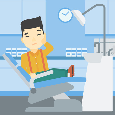tooth pain: An asian young patient sitting in dental chair at dentist office. Sad man suffering from tooth pain. Man having a toothache. Vector flat design illustration. Square layout.
