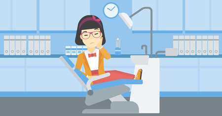 tooth pain: An asian young female patient sitting in dental chair at dentist office. Sad woman suffering from tooth pain. Woman having a toothache. Vector flat design illustration. Horizontal layout.