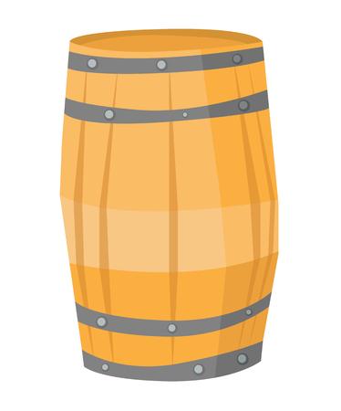 Big round wooden barrel vector flat design illustration isolated on white background. 向量圖像