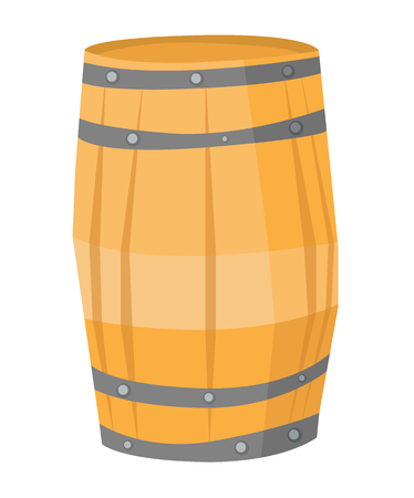 fermenting: Big round wooden barrel vector flat design illustration isolated on white background. Illustration