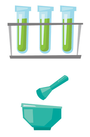 laboratory equipment: Laboratory equipment - test tubes, mortar and pestle vector flat design illustration isolated on white background.