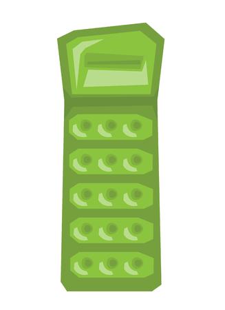 Groene opblaasbare matras vector platte ontwerp illustratie op een witte achtergrond. Stock Illustratie