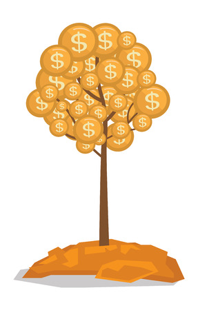 Money tree with golden coins vector flat design illustration isolated on white background. Illustration