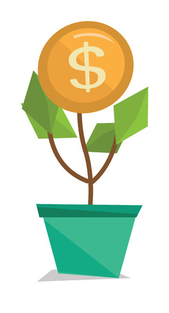 Money flower with golden coin vector flat design illustration isolated on white background.