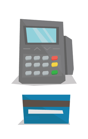 cardreader: Bank terminal and credit card vector flat design illustration isolated on white background.