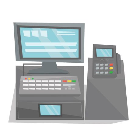 cash: Front view of electronic cash register vector flat design illustration isolated on white background.