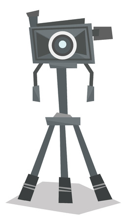 tripod: Front view of photo camera on tripod vector flat design illustration isolated on white background. Illustration