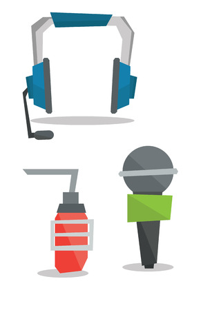 studio microphone: Headphones, classic microphone and studio microphone vector flat design illustration isolated on white background.