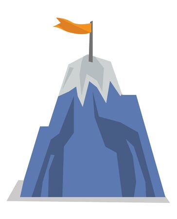 summit: Mountain peak with flag. Concept of achievement business goal. Vector flat design illustration isolated on white background.