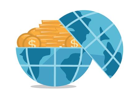 Globe full of golden coins vector flat design illustration isolated on white background. Illustration