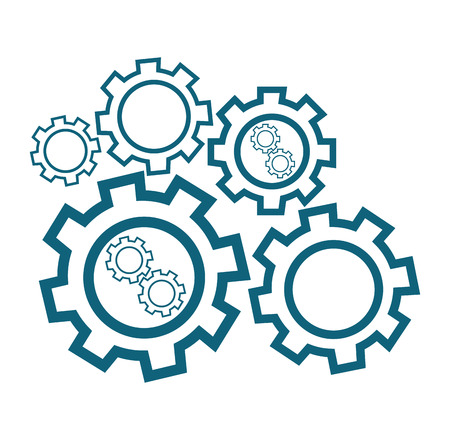 Group of cog wheels vector flat design illustration isolated on white background.