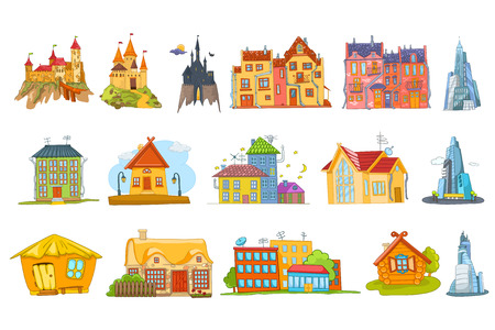 Set of different buildings such as private houses, skyscrapers, cottages, business buildings, fairy tale castles, condominium, urban and rural houses. Vector illustration isolated on white background.