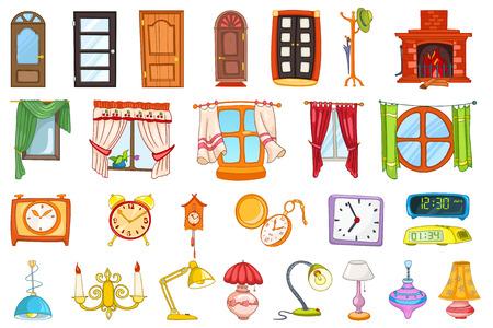 Conjunto de entrada y las puertas interiores, perchero, ventanas, lámparas de mesa, reloj despertador, reloj de bolsillo, cllock digitales, chimenea, lámpara, reloj de cuco. Ilustración del vector aislado en el fondo blanco.
