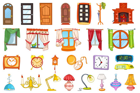 coat rack: Set of entrance and interior doors, coat rack, windows, table lamps, alarm clocks, pocket clock, digital cllock, fireplace, chandelier, cuckoo-clock. Vector illustration isolated on white background.