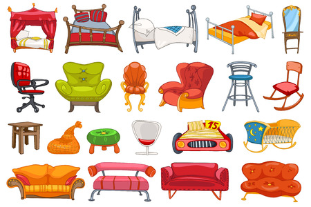 Set van diverse meubelen zoals een bank, stoel, bed, stoel, bureaustoel, schommelstoel, wieg, bank, hemelbed, kaptafel en andere. Vector illustratie op een witte achtergrond.