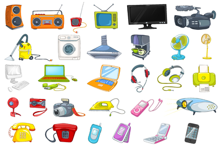 Set of household appliances, electronic devices, gadgets and computer equipment. Set of vacuum cleaner, laptop, iron, fan, radio, camera and other. Vector illustration isolated on white background. Stock Illustratie