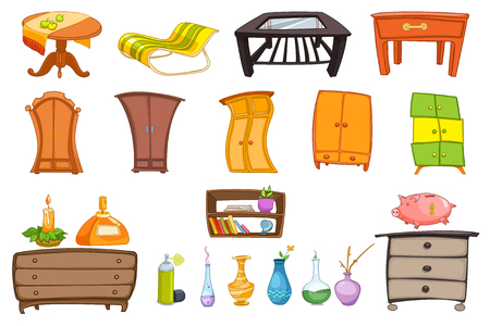bedside: Furniture set with coffee table, chaise longue, chest of drawers, wardrobe, shelf and accessories for house - vase, candle, air freshener, piggy bank. Vector illustration isolated on white background. Illustration