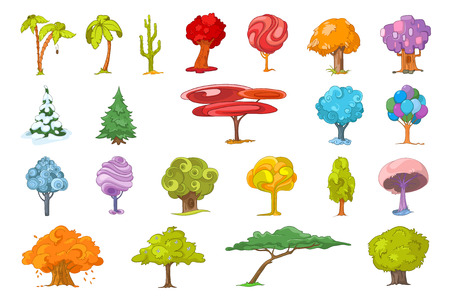 christmas cactus: Set of various cute trees. Collection of colourful fantasy trees. Palm trees, mexican tall cactus, autumn trees, fir-trees, colourful fairy trees. Vector illustration isolated on white background.