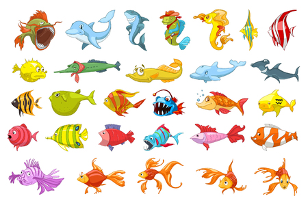 gold fish: Set of funny colourful fish illustrations. Collection of sea fauna including dolphin, piranha, shark, fish hedgehog, gold fish. Vector illustration isolated on white background.