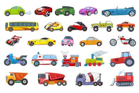 Conjunto de vehículos de transporte ilustraciones. Colección de coches deportivos y de pasajeros, autobuses, motocicletas, coches ambulancia, niveladora, camión volquete, hormigonera. Ilustración del vector aislado en el fondo blanco.
