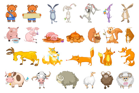 domestic animals: Set of animals illustrations. Collection of forest and domestic animals. Set of comic bears, rabbits, squirrels, pigs, sheeps, foxes, cows, deer. Vector illustration isolated on white background.
