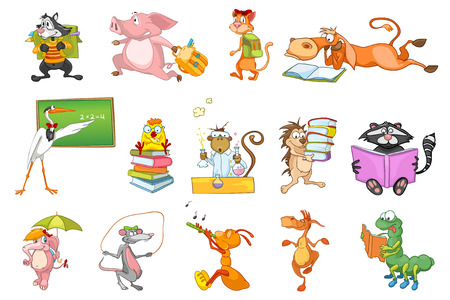 Set of animals walking with backpack to school, reading books, jumping with skipping rope, playing flute, dancing, working with chemical equipment. Vector illustration isolated on white background.