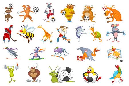 Set mit bunten Tiere Uniform tragen und Sportgeräten. Tiere spielen Fußball, Fußball, Hockey. Tiere Snowboarden, Laufen, Skaten. Vektor-Illustration auf weißem Hintergrund. Vektorgrafik