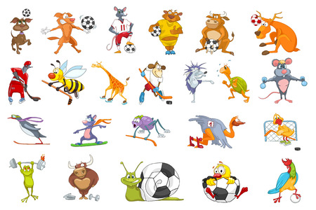 Set of colourful animals wearing uniform and using sports equipment. Animals playing soccer, football, hockey. Animals snowboarding, running, skating. Vector illustration isolated on white background.