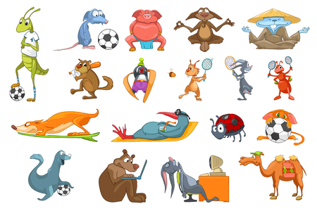 working animals: Set of colourful animals using sports equipment. Funny animals playing football, baseball, meditating in lotus pose. Animals working on computer. Vector illustration isolated on white background.