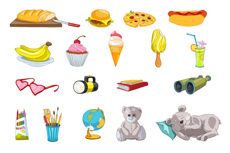 Set of fast food and sweets - pizza, hot dog, hamburger, cupcake, ice-cream. Set of kid things - books, pencils, teddy bear, brush for drawing, globe. Vector illustration isolated on white background. Banco de Imagens - 61534698
