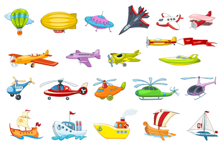 Set of air and water transport vehicles illustrations. Collection of air balloon, various planes, flying saucer, helicopters, sea craft, ship, boat. Vector illustration isolated on white background. Иллюстрация