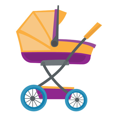 Colourful baby carriage vector flat design illustration isolated on white background.