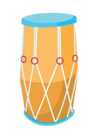 伝統的なアフリカのドラム。大きな民族ドラム ベクトル フラットなデザインのイラストが白い背景で隔離。