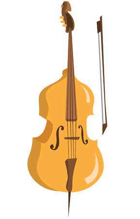 Wooden cello with bow vector flat design illustration isolated on white background.