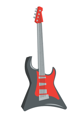 Classical electric guitar vector flat design illustration isolated on white background.