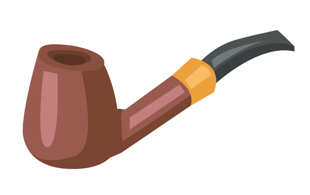 toxic product: Wooden smoking pipe vector flat design illustration isolated on white background.