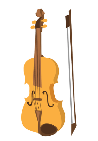 Wooden violin with bow vector flat design illustration isolated on white background.