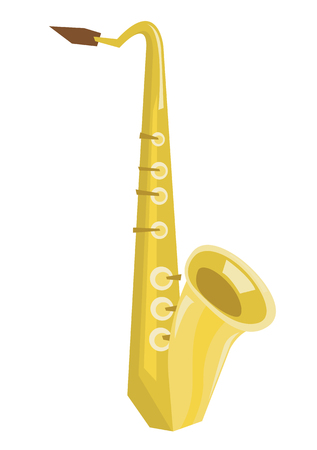 melodic: Classical saxophon vector flat design illustration isolated on white background.